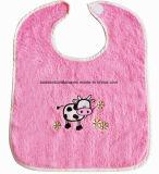 중국 공장 생성 주문 로고에 의하여 수를 놓는 니트 면 테리 분홍색 아기 Drooler 수도꼭지