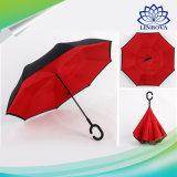 Цветастый зонтик Reversible автомобилей зонтика двойного слоя перевернутый