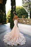 Robes de mariage réelles de rose de sirène de Tulle de lacet de robe de mariage de Champagne