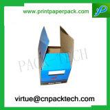 Rectángulo de papel de empaquetado de la cámara de encargo rígida con la impresión de la insignia