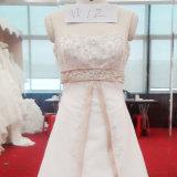 Vestido de casamento Strapless do cetim com corpete frisado e o vestido nupcial da faixa
