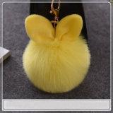 Barato Custom Plush Faux Fur Puff Bola de peles de coelho Felpudas Chave Ear Chaveiro Bola Bola Rex Coelho Chaveiros