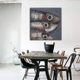 100%のハンドメイドの乾燥した魚のパレットナイフのキャンバスの壁の芸術の油絵