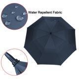 二重層のエヴァのハンドルのゴルフ傘の防風の広告のゴルフ傘