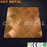 Strato decorativo dell'acciaio inossidabile con i colori trasversali della linea sottile, acquaforte e dell'Rosa-Oro
