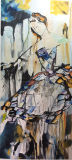 100% Hechos a mano Dama abstracto figurativo bailarina Óleo sobre lienzopara decoración de pared