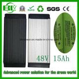 48V 15ah 850W Ebike/Zahnstange/Rückseiten-/Gepäck-/Lithium-Batterie mit BMS senden eine 54.6V 2A Aufladeeinheit in China mit Aktien