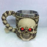 Чашка декора ужаса Tankard черепа смолаы 3D для партии штанги Halloween