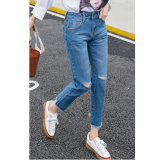 Luz azul jeans de lavagem quebrado para senhora (HDLJ0048-18)