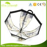 Ombrello trasparente diritto del PVC stampato marchio su ordinazione di marca