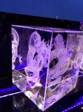 Cubo chino del vidrio cristalino del dragón con el grabado de la foto 3D