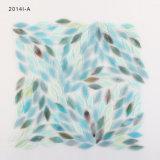 Bunte blaue Blatt-Form-Kunst-Buntglas-Mosaik-Fliese für Wand