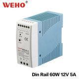 Vente chaude 5A 12V 60W de bloc d'alimentation de commutateur de Mdr-60-12 IP20