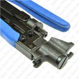 CATVのHandtool Rg59 RG6 Rg11の同軸ケーブルFの圧縮のコネクターのひだ付け装置のツール