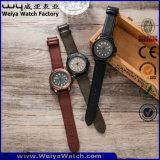 Montre-bracelet classique faite sur commande de dames de montre de quartz de courroie en cuir d'ODM (WY-P17015A)