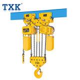 15t Txkの二重速度のトロリーが付いている電気チェーン起重機