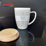 Design personalizado logotipo etiqueta autocolante Círio caneca com tampa de madeira