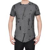 Fabricante homens impresso T Shirt assimétrico Casual Hem T-shirt