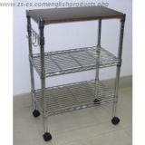Carro Multi-Functional da cozinha do metal do cromo ajustável com gancho (TR903590B3C)