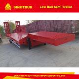 Transportista de contenedores de superficie plana de 3 ejes semi remolque cama baja Trailer
