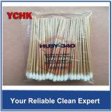 Cleanroom Producten die Katoenen van de Stok van het Eind van Zwabbers Industriële Enige Beschikbare Houten Lange Zwabber schoonmaken