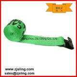 """Cinghia dell'argano con l'amo & la protezione piani 4 """" verde di X 27 '"""