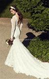 De sirène robes de mariage de douille de lacet nuptiale de robe longtemps longues Z8006