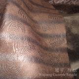 Pelle scamosciata di cuoio 100% del poliestere del tessuto stampata stagnola con la parte del panno morbido