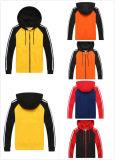 普及した様式の適当なジッパーの人のスポーツのRaglan袖二重カラーHoodies