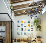 거실 유리제 LED를 위한 현대 창조적인 예술 디자인 나무 펀던트 점화는 샹들리에를 불빛에 비춰 조사한다