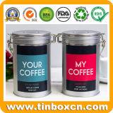 Caja de embalaje de alimentos de estaño de café de metal redondo con tapa hermética