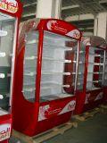 Verticalmente do ar aberto do refresco do supermercado do anúncio publicitário refrigerador fresco