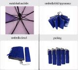 黒いマニュアルの昇進のための開いた広告の3つのフォールドの傘