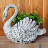 Лебедь гранита высокого качества белый конструирует цветочный горшок для уникально украшения дома