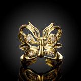 금에 의하여 도금되는 입방 지르코니아 나비 반지 인공적인 보석