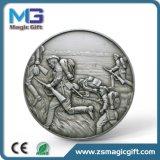 Pièce de monnaie argentée antique personnalisée par ventes chaudes en métal