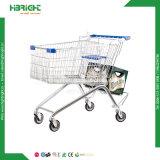 Zwei Reihe-Supermarkt-Lebensmittelgeschäft-Einkaufen-Karren