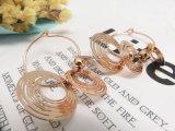포도 수확 작풍 구리빛 장 모조 금에 의하여 도금되는 원형 귀걸이 3개 피스