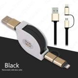 Nuevo producto el 1m nuevos 2 en 1 cable retractable del USB de los datos