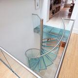 Escalera espiral de cristal contemporánea del acero inoxidable