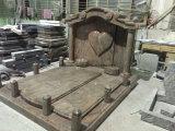 De Indische Grafsteen van de Grafsteen van het Graniet Juparana Hart Gevormde