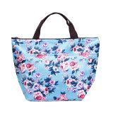 2017人の女性の携帯用昼食袋のキャンバスの花の印刷された食糧ピクニック袋によって絶縁される熱クーラーのお弁当箱はトートバック旅行を運ぶ
