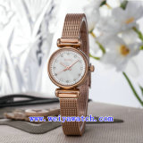 Edelstahl-Uhr passen beiläufige Armbanduhren an (WY-017A)