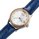Relógio de pulso luxuoso mecânico das senhoras da cinta de couro do diamante