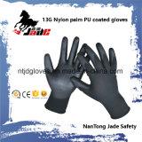 luva revestida do plutônio do poliéster 13G/preto de nylon da palma