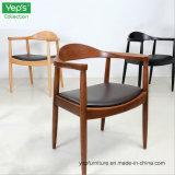 Coussin de cuir de PU de bois solide fauteuil président Cafe chaise de salle à manger