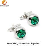 Boutons de manche courtes en cristal vert et argenté à vendre