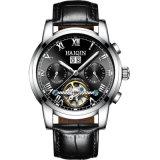 OEM luxuoso do relógio do homem de faixa do couro da caixa de aço inoxidável aceitado