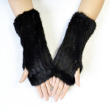 編むFingerless Crochet Glove Mink Furミトンの女性手袋