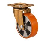 Gesamtbremse/Rad-europäischer Standard-industrielle Fußrollen des doppelte Bremsen-Aluminiumkern-Polyurethane/PU